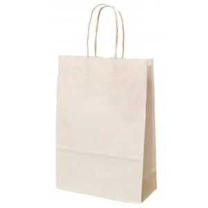 White Kraft Twisted Paper Handle Carrier Bags