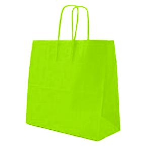 Lime Green Twisted Paper Handle Carrier Bags