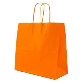 Orange Twisted Paper Handle Carrier Bags