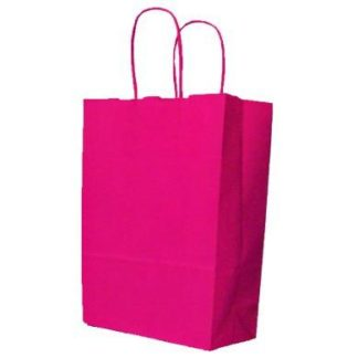 Hot Pink Twisted Paper Handle Carrier Bags