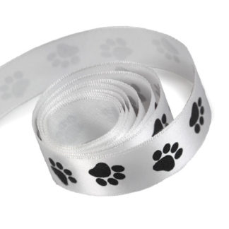 Black Paw Prints Printed on White Ribbon
