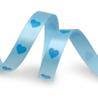 Blue Hearts Printed Ribbon