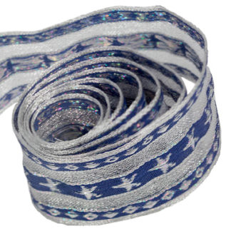 Blue and Silver Star Speciality Ribbon