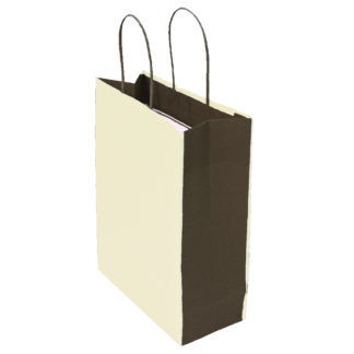 Cream and Brown Bicolour Carrier Bags