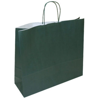 Dark Green Twisted Paper Handle Carrier Bags