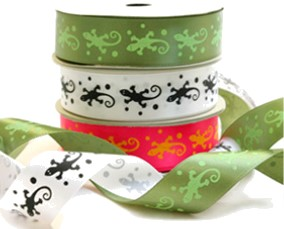 Lime Lizard Print Green Printed Ribbon