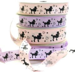 Black Poodle Print Purple Printed Ribbon