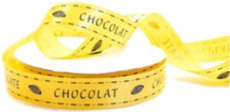 yellow ribbon with chocolate as text