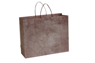 Deep Red Printed Carrier Bags With Mosaic Design
