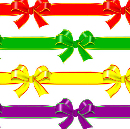 Coloured gift bows wrapture printed tissue